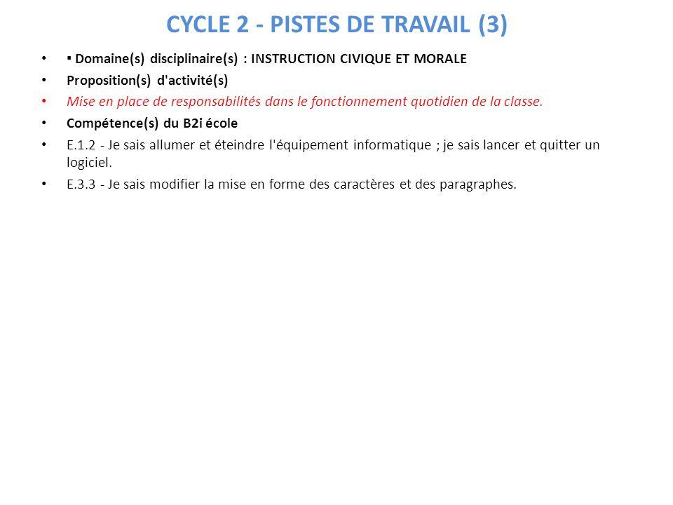 CYCLE 2 - PISTES DE TRAVAIL (3) Domaine(s) disciplinaire(s) : INSTRUCTION CIVIQUE ET MORALE Proposition(s) d'activité(s) Mise en place de responsabili