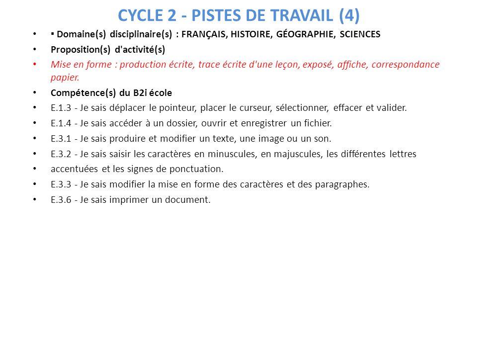CYCLE 2 - PISTES DE TRAVAIL (4) Domaine(s) disciplinaire(s) : FRANÇAIS, HISTOIRE, GÉOGRAPHIE, SCIENCES Proposition(s) d'activité(s) Mise en forme : pr