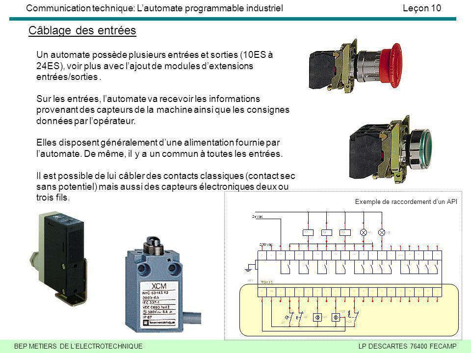 BEP METIERS DE LELECTROTECHNIQUELP DESCARTES 76400 FECAMP Communication technique: Lautomate programmable industrielLeçon 10 Câblage des entrées Un automate possède plusieurs entrées et sorties (10ES à 24ES), voir plus avec lajout de modules dextensions entrées/sorties.