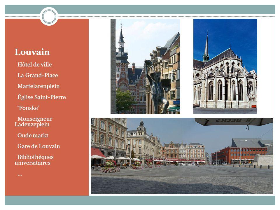 Louvain o Hôtel de ville o La Grand-Place o Martelarenplein o Église Saint-Pierre o Fonske o Monseigneur Ladeuzeplein o Oude markt o Gare de Louvain o
