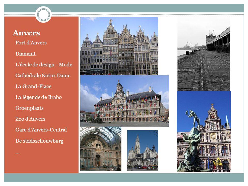 o Port d'Anvers o Diamant o Lécole de design –Mode o Cathédrale Notre-Dame o La Grand-Place o La légende de Brabo o Groenplaats o Zoo d'Anvers o Gare
