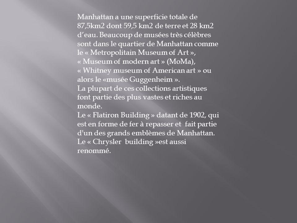 Manhattan a une superficie totale de 87,5km2 dont 59,5 km2 de terre et 28 km2 deau. Beaucoup de musées très célèbres sont dans le quartier de Manhatta