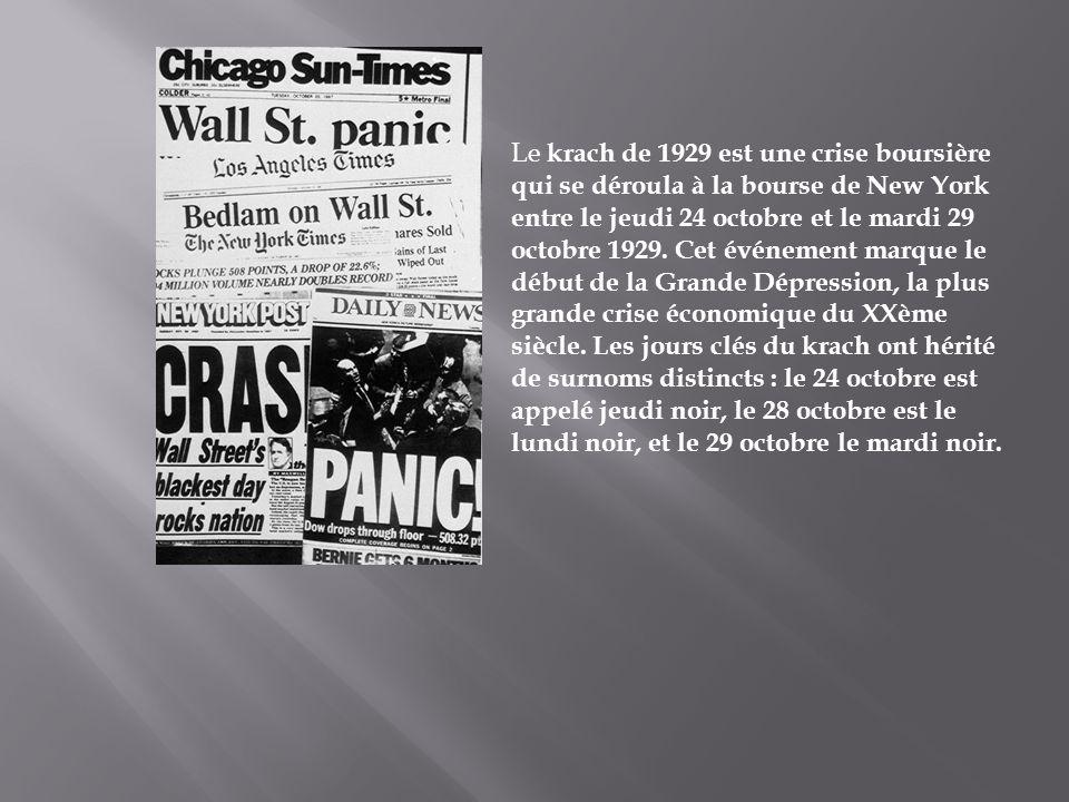 Le krach de 1929 est une crise boursière qui se déroula à la bourse de New York entre le jeudi 24 octobre et le mardi 29 octobre 1929. Cet événement m