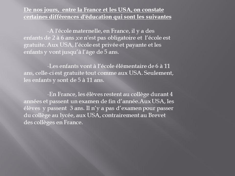 De nos jours, entre la France et les USA, on constate certaines différences d'éducation qui sont les suivantes -A l'école maternelle, en France, il y