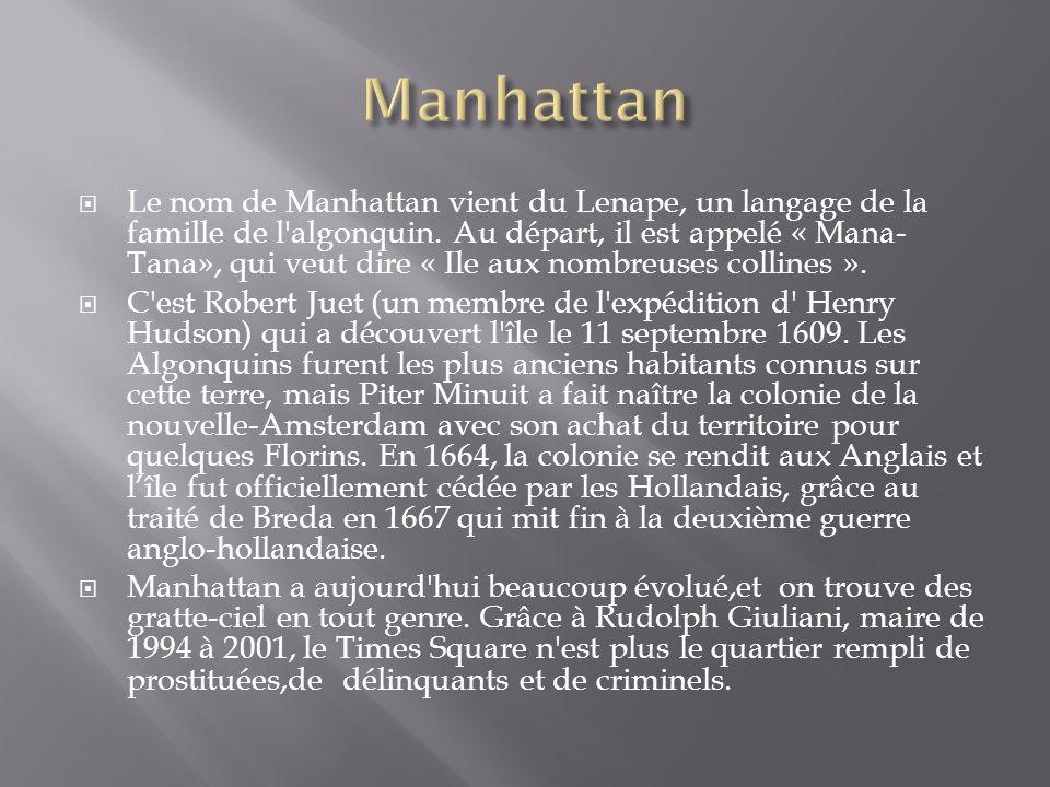 Le nom de Manhattan vient du Lenape, un langage de la famille de l'algonquin. Au départ, il est appelé « Mana- Tana», qui veut dire « Ile aux nombreus