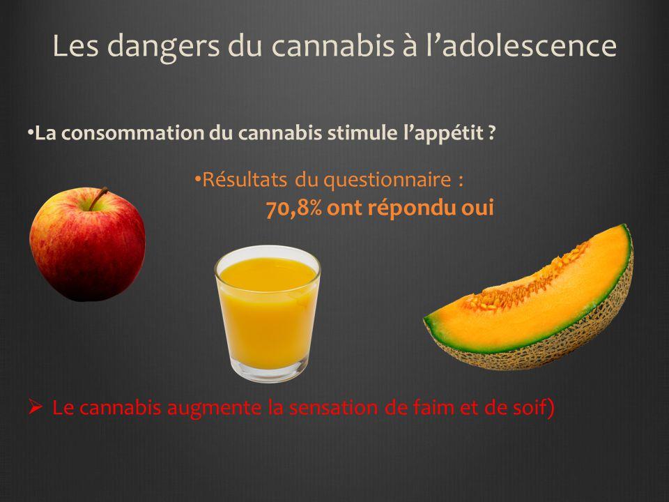 Les dangers du cannabis à ladolescence Les effets du cannabis peuvent durer une heure, dix heures ou un jour ? Résultats du questionnaire : 52,7% ont