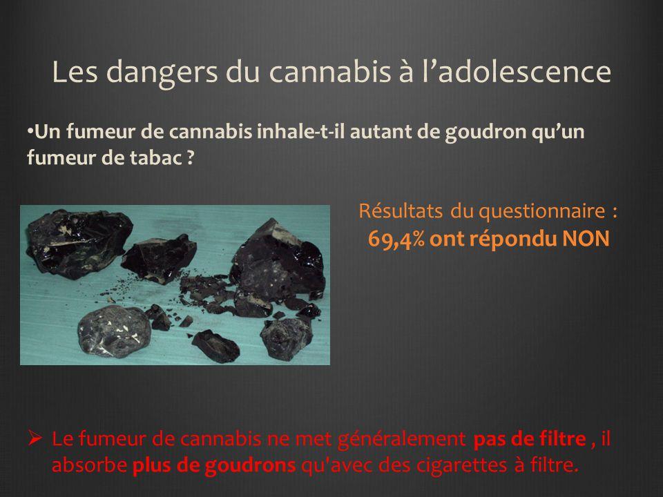 Les dangers du cannabis à ladolescence Un fumeur de cannabis inhale-t-il autant de goudron quun fumeur de tabac .