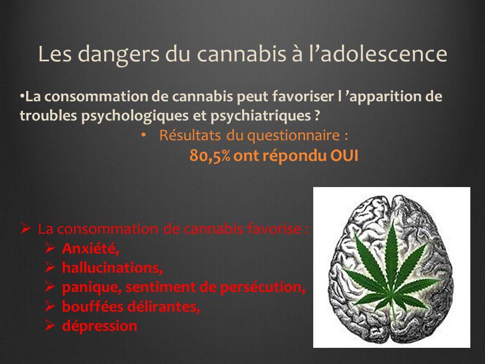Les dangers du cannabis à ladolescence La consommation de cannabis peut favoriser l apparition de troubles psychologiques et psychiatriques .
