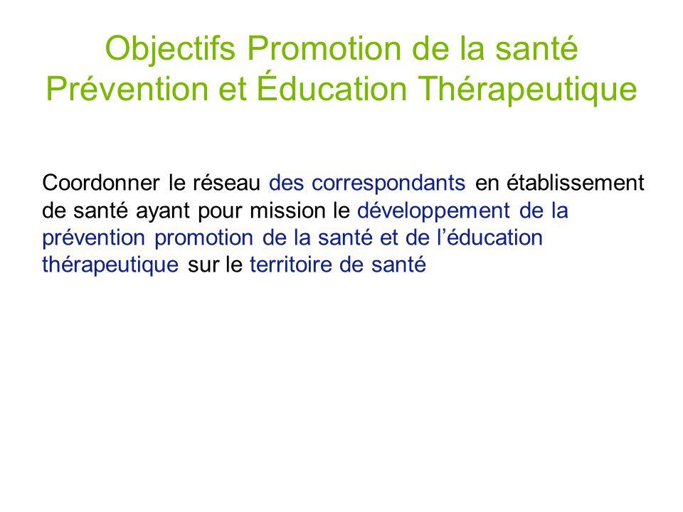 Objectifs Promotion de la santé Prévention et Éducation Thérapeutique Coordonner le réseau des correspondants en établissement de santé ayant pour mission le développement de la prévention promotion de la santé et de léducation thérapeutique sur le territoire de santé