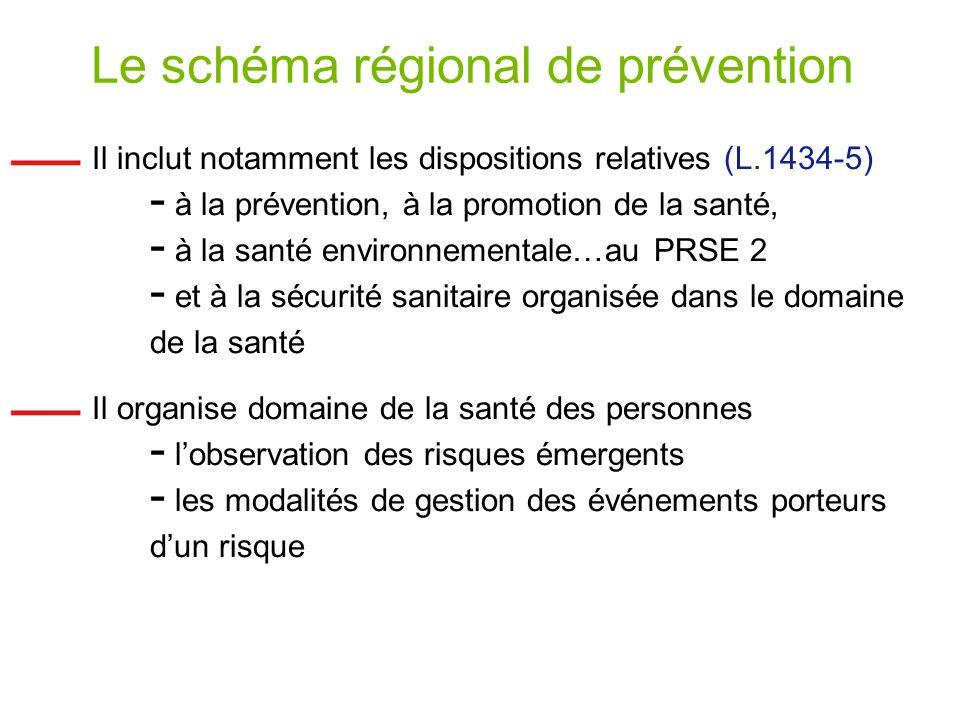 Le schéma régional de prévention Il inclut notamment les dispositions relatives (L.1434-5) - à la prévention, à la promotion de la santé, - à la santé environnementale…au PRSE 2 - et à la sécurité sanitaire organisée dans le domaine de la santé Il organise domaine de la santé des personnes - lobservation des risques émergents - les modalités de gestion des événements porteurs dun risque
