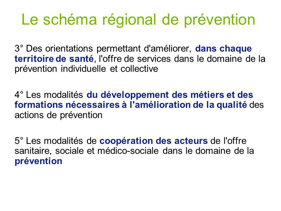 Le schéma régional de prévention 3° Des orientations permettant d'améliorer, dans chaque territoire de santé, l'offre de services dans le domaine de l