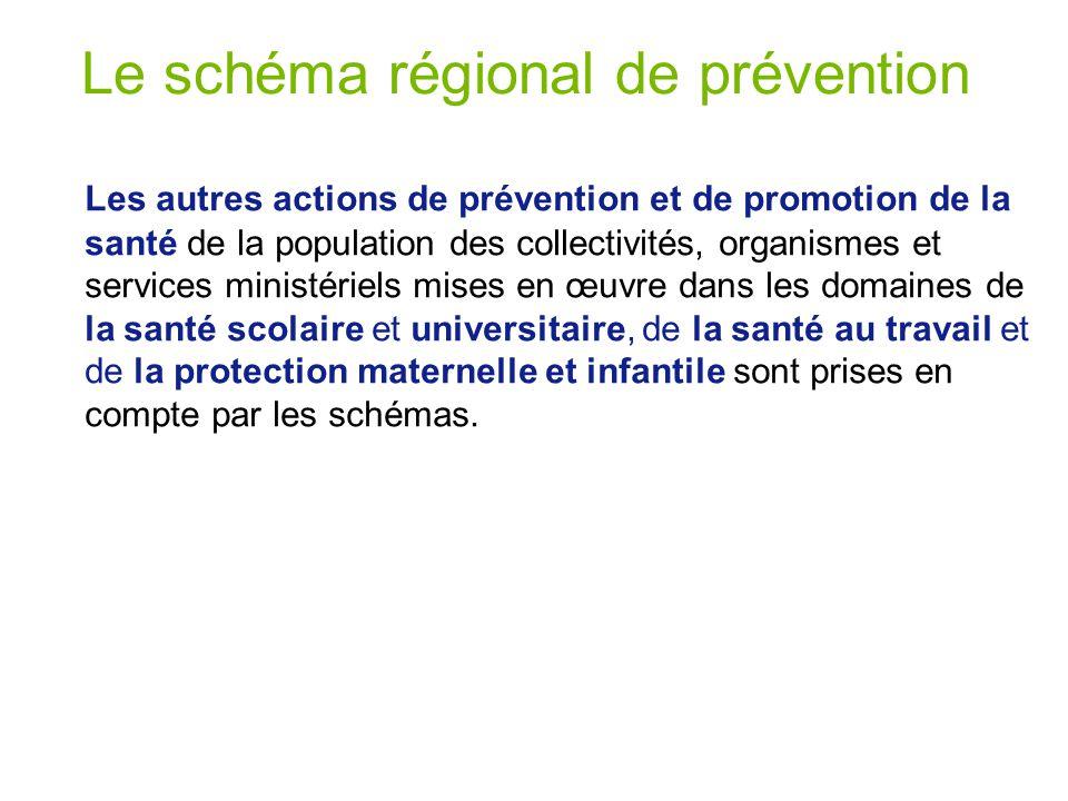 Le schéma régional de prévention Les autres actions de prévention et de promotion de la santé de la population des collectivités, organismes et services ministériels mises en œuvre dans les domaines de la santé scolaire et universitaire, de la santé au travail et de la protection maternelle et infantile sont prises en compte par les schémas.