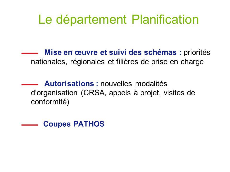 Le département Planification Mise en œuvre et suivi des schémas : priorités nationales, régionales et filières de prise en charge Autorisations : nouv