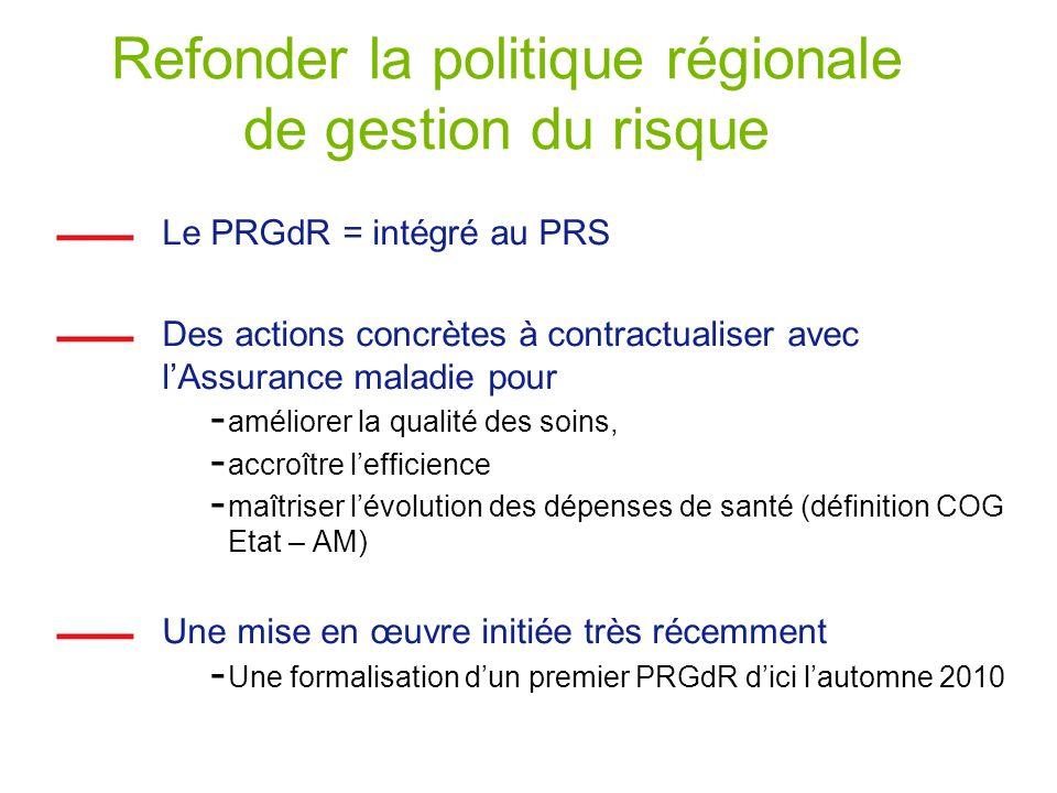 Refonder la politique régionale de gestion du risque Le PRGdR = intégré au PRS Des actions concrètes à contractualiser avec lAssurance maladie pour -