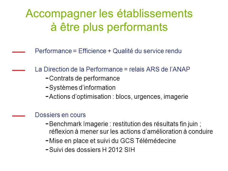 Accompagner les établissements à être plus performants Performance = Efficience + Qualité du service rendu La Direction de la Performance = relais ARS