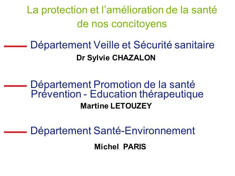 La protection et lamélioration de la santé de nos concitoyens Département Veille et Sécurité sanitaire Dr Sylvie CHAZALON Département Promotion de la