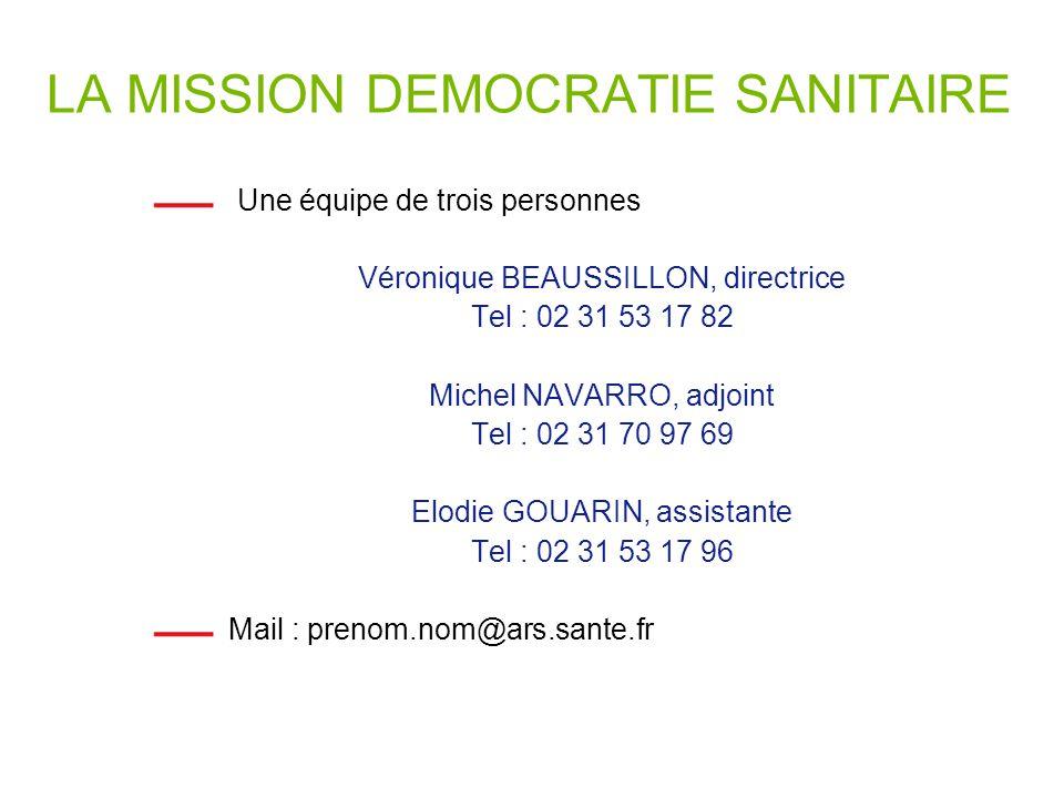 LA MISSION DEMOCRATIE SANITAIRE Une équipe de trois personnes Véronique BEAUSSILLON, directrice Tel : 02 31 53 17 82 Michel NAVARRO, adjoint Tel : 02 31 70 97 69 Elodie GOUARIN, assistante Tel : 02 31 53 17 96 Mail : prenom.nom@ars.sante.fr
