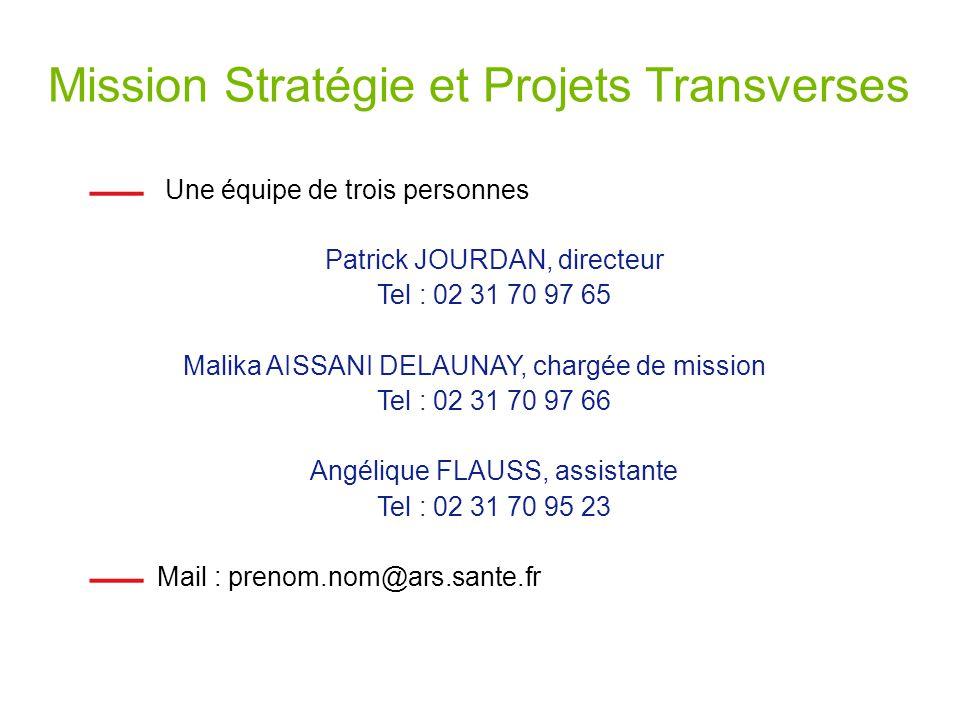 Mission Stratégie et Projets Transverses Une équipe de trois personnes Patrick JOURDAN, directeur Tel : 02 31 70 97 65 Malika AISSANI DELAUNAY, chargé
