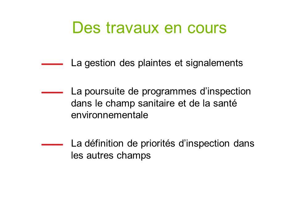 Des travaux en cours La gestion des plaintes et signalements La poursuite de programmes dinspection dans le champ sanitaire et de la santé environneme