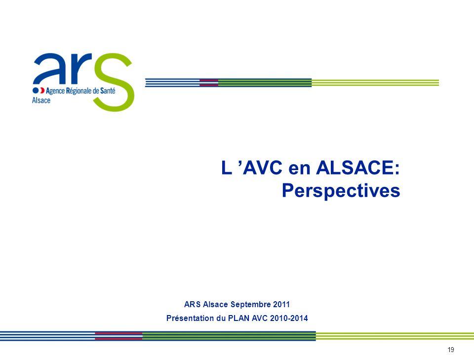 L AVC en ALSACE: Perspectives ARS Alsace Septembre 2011 Présentation du PLAN AVC 2010-2014 19
