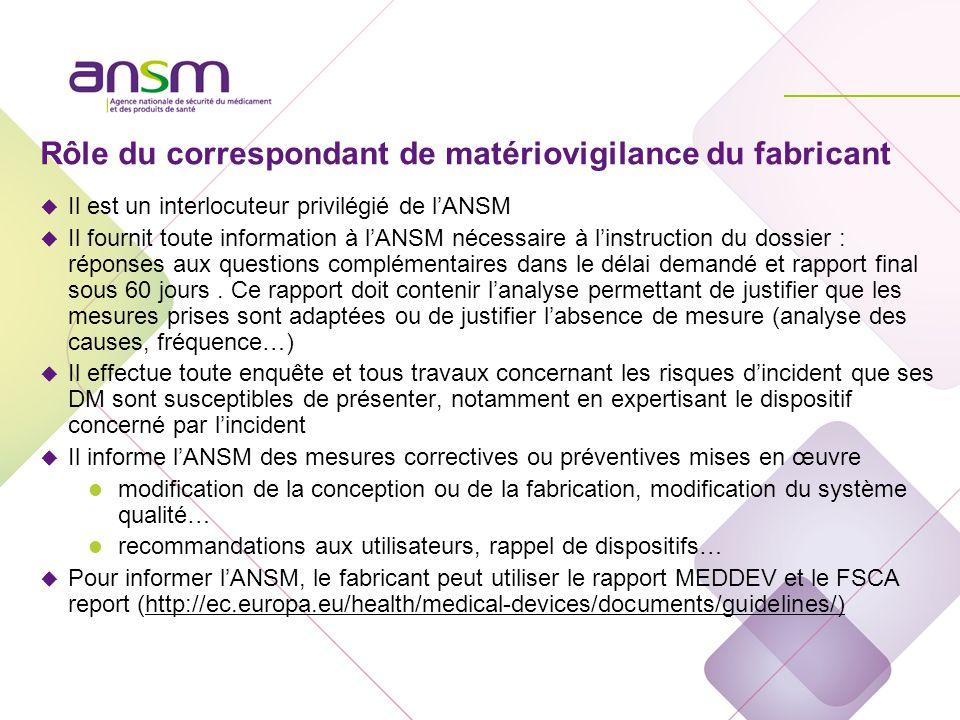 Rôle du correspondant de matériovigilance du fabricant u Il est un interlocuteur privilégié de lANSM u Il fournit toute information à lANSM nécessaire