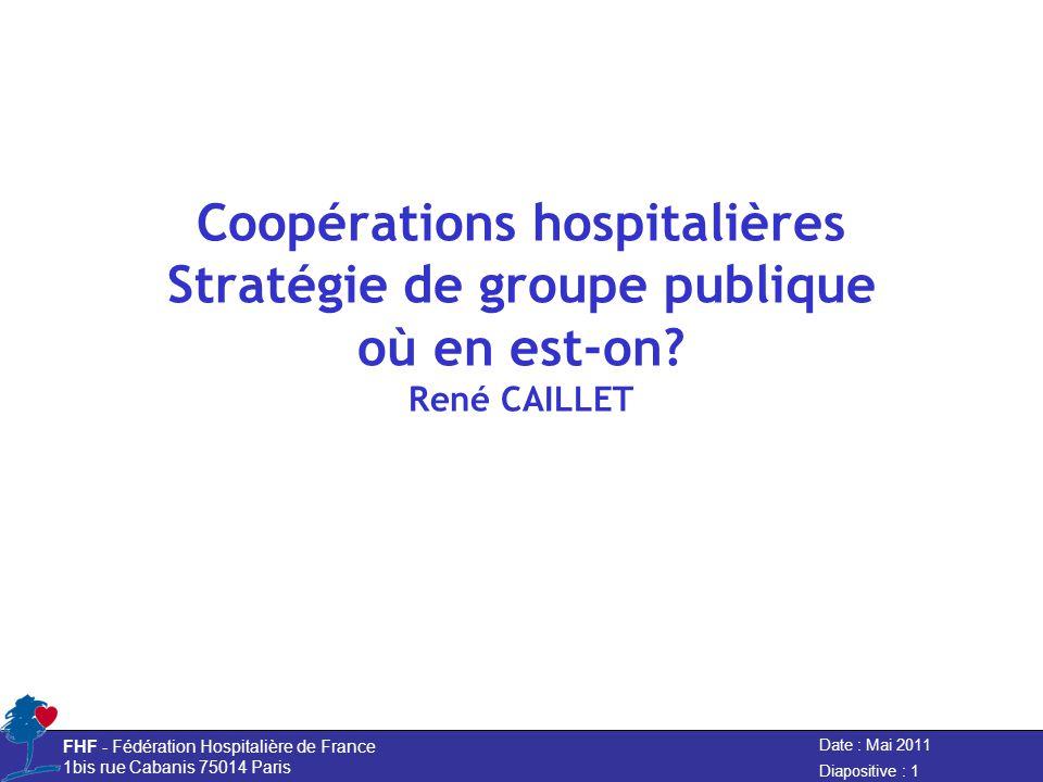 Date : Mai 2011 FHF - Fédération Hospitalière de France 1bis rue Cabanis 75014 Paris Diapositive : 1 Coopérations hospitalières Stratégie de groupe publique où en est-on.