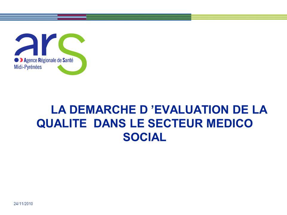 24/11/2010 LA DEMARCHE D EVALUATION DE LA QUALITE DANS LE SECTEUR MEDICO SOCIAL