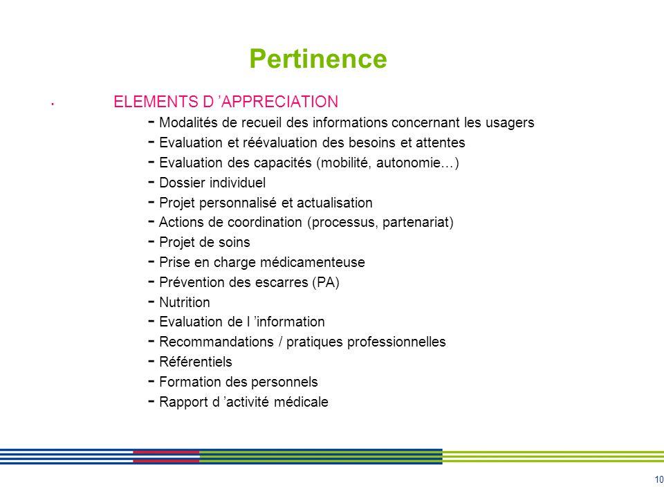 10 Pertinence ELEMENTS D APPRECIATION - Modalités de recueil des informations concernant les usagers - Evaluation et réévaluation des besoins et attentes - Evaluation des capacités (mobilité, autonomie…) - Dossier individuel - Projet personnalisé et actualisation - Actions de coordination (processus, partenariat) - Projet de soins - Prise en charge médicamenteuse - Prévention des escarres (PA) - Nutrition - Evaluation de l information - Recommandations / pratiques professionnelles - Référentiels - Formation des personnels - Rapport d activité médicale