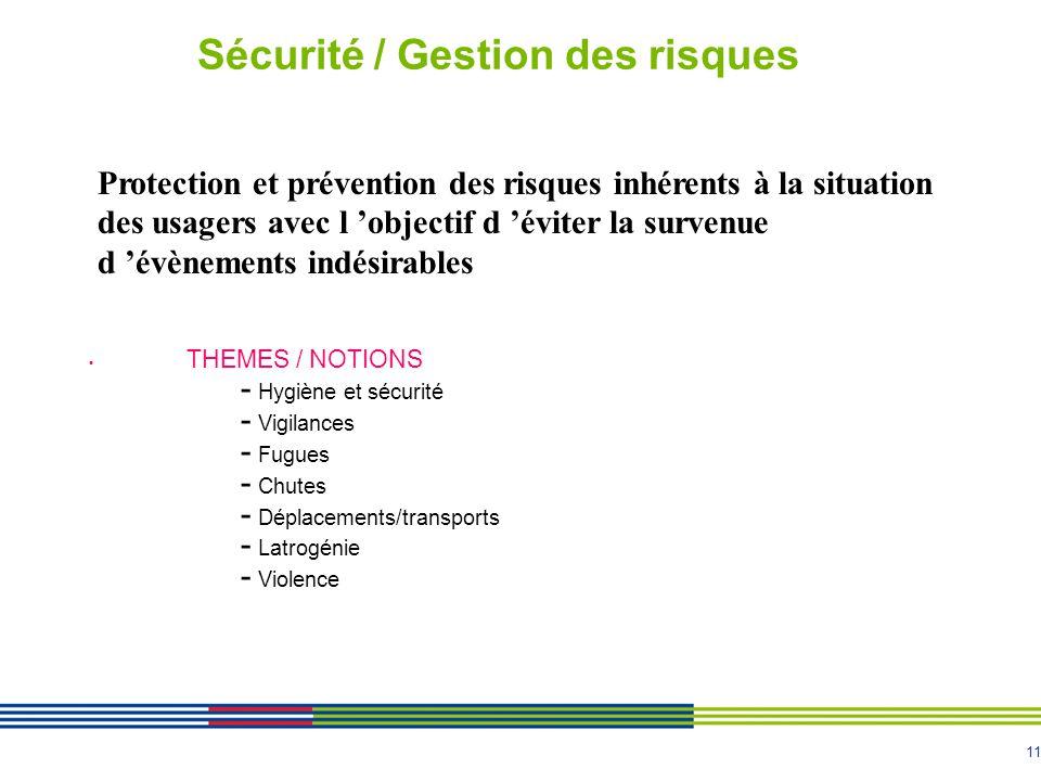 11 Sécurité / Gestion des risques THEMES / NOTIONS - Hygiène et sécurité - Vigilances - Fugues - Chutes - Déplacements/transports - Latrogénie - Viole