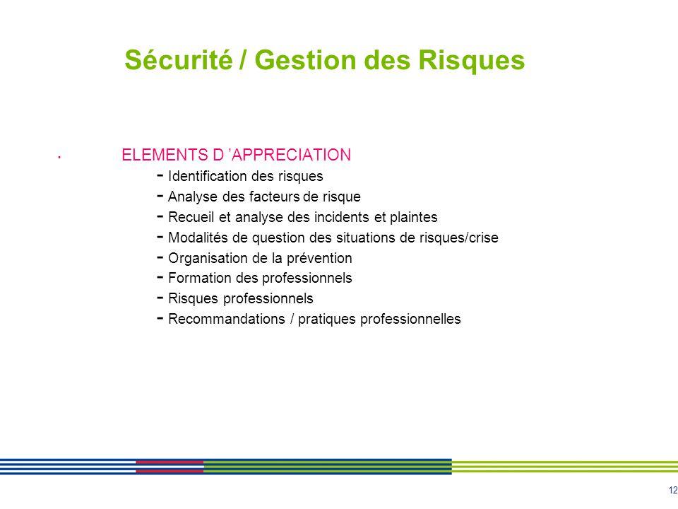 12 Sécurité / Gestion des Risques ELEMENTS D APPRECIATION - Identification des risques - Analyse des facteurs de risque - Recueil et analyse des incid