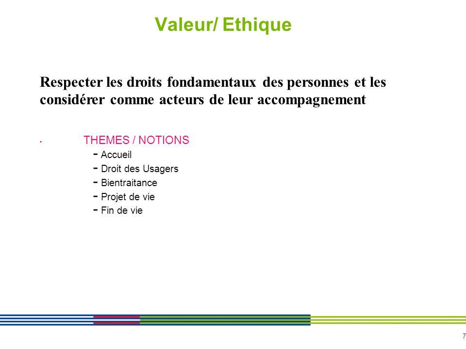 7 Valeur/ Ethique THEMES / NOTIONS - Accueil - Droit des Usagers - Bientraitance - Projet de vie - Fin de vie Respecter les droits fondamentaux des personnes et les considérer comme acteurs de leur accompagnement