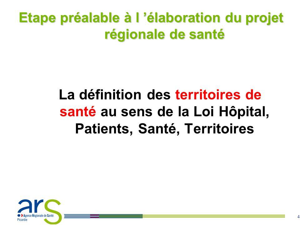 4 Etape préalable à l élaboration du projet régionale de santé La définition des territoires de santé au sens de la Loi Hôpital, Patients, Santé, Territoires