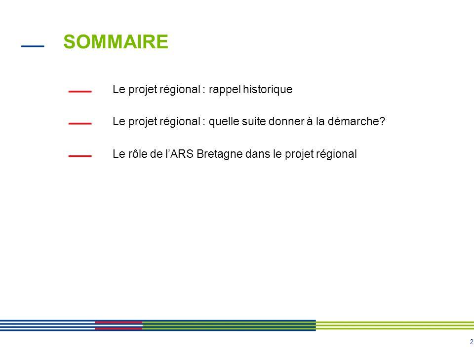 2 SOMMAIRE Le projet régional : rappel historique Le projet régional : quelle suite donner à la démarche? Le rôle de lARS Bretagne dans le projet régi