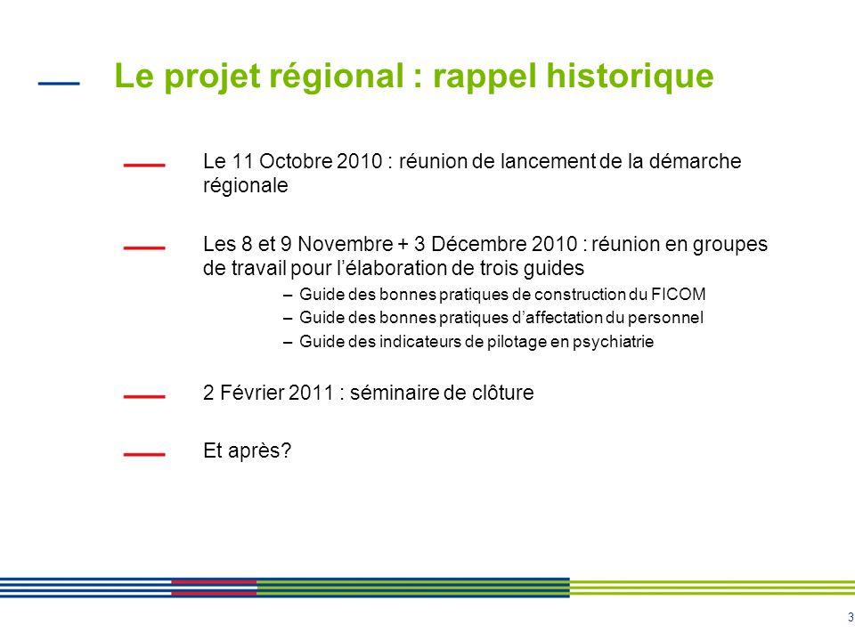 3 Le projet régional : rappel historique Le 11 Octobre 2010 : réunion de lancement de la démarche régionale Les 8 et 9 Novembre + 3 Décembre 2010 : ré