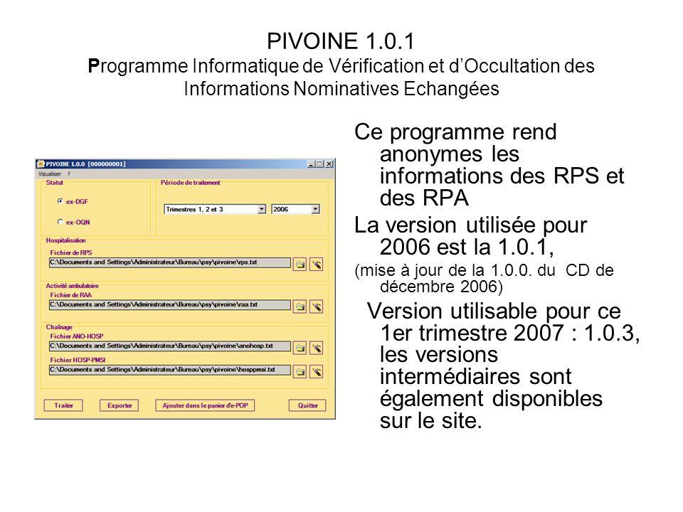 PIVOINE 1.0.1 Programme Informatique de Vérification et dOccultation des Informations Nominatives Echangées Ce programme rend anonymes les information