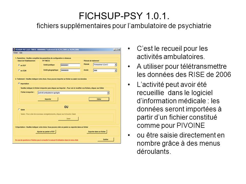 FICHSUP-PSY 1.0.1. fichiers supplémentaires pour lambulatoire de psychiatrie Cest le recueil pour les activités ambulatoires. A utiliser pour télétran