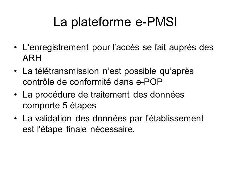 La plateforme e-PMSI Lenregistrement pour laccès se fait auprès des ARH La télétransmission nest possible quaprès contrôle de conformité dans e-POP La