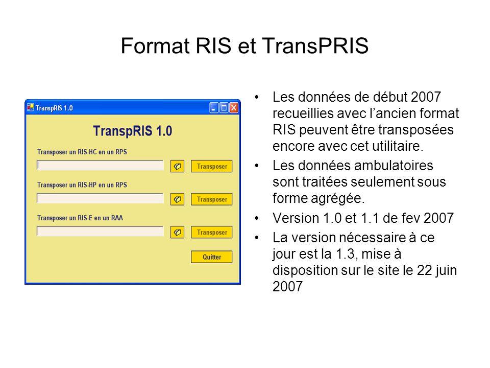 Format RIS et TransPRIS Les données de début 2007 recueillies avec lancien format RIS peuvent être transposées encore avec cet utilitaire. Les données