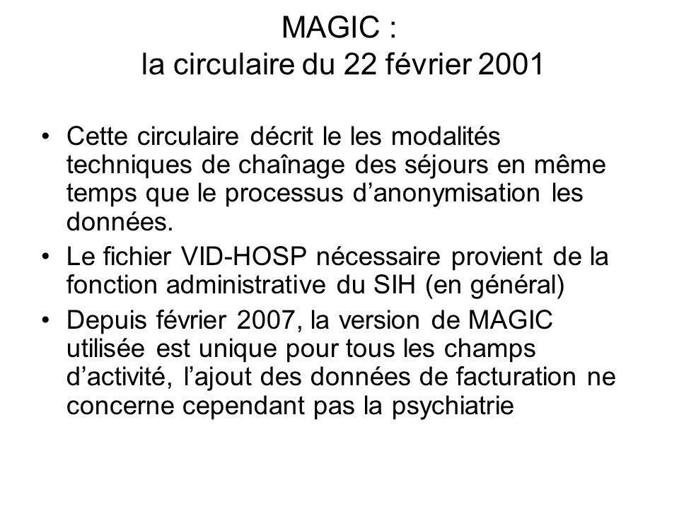 MAGIC : la circulaire du 22 février 2001 Cette circulaire décrit le les modalités techniques de chaînage des séjours en même temps que le processus da