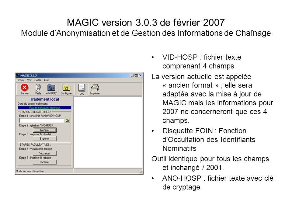 MAGIC version 3.0.3 de février 2007 Module dAnonymisation et de Gestion des Informations de Chaînage VID-HOSP : fichier texte comprenant 4 champs La v
