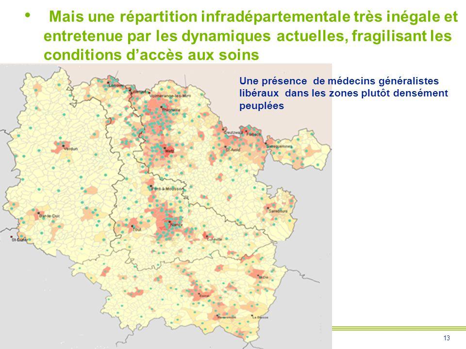 13 Rencontre Pacte Territoire-Santé – CHANTRAINE – 21/02/2013 Mais une répartition infradépartementale très inégale et entretenue par les dynamiques a