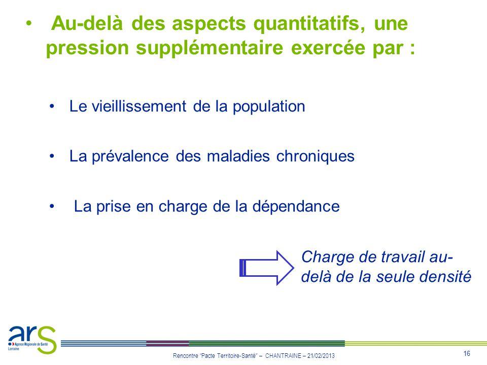 16 Rencontre Pacte Territoire-Santé – CHANTRAINE – 21/02/2013 Au-delà des aspects quantitatifs, une pression supplémentaire exercée par : Le vieilliss