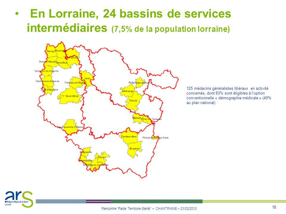 18 Rencontre Pacte Territoire-Santé – CHANTRAINE – 21/02/2013 En Lorraine, 24 bassins de services intermédiaires (7,5% de la population lorraine) 125