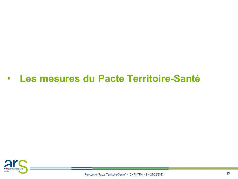 19 Rencontre Pacte Territoire-Santé – CHANTRAINE – 21/02/2013 Les mesures du Pacte Territoire-Santé