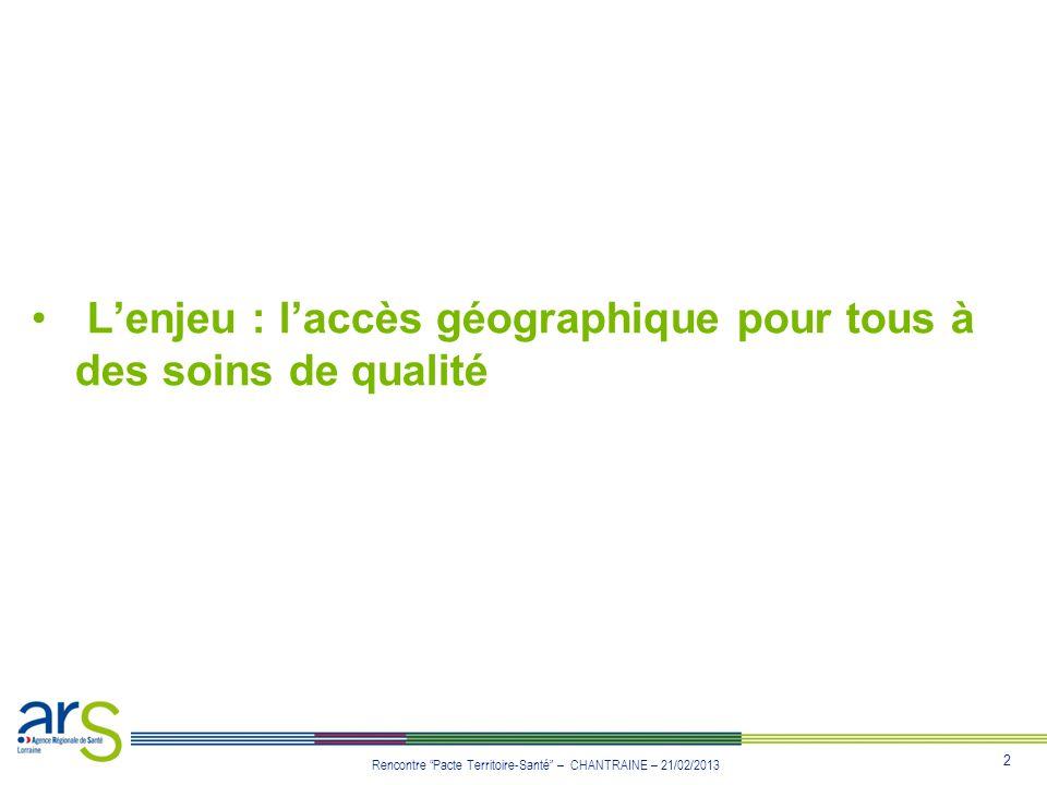 2 Rencontre Pacte Territoire-Santé – CHANTRAINE – 21/02/2013 Lenjeu : laccès géographique pour tous à des soins de qualité