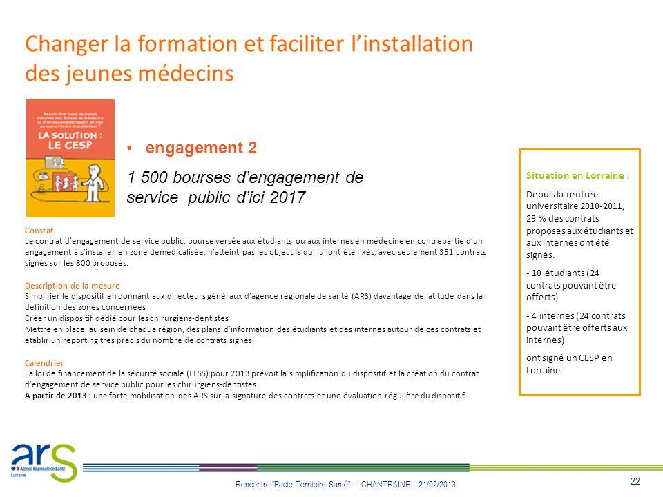 22 Rencontre Pacte Territoire-Santé – CHANTRAINE – 21/02/2013 Changer la formation et faciliter linstallation des jeunes médecins engagement 2 1 500 b