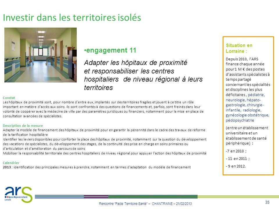35 Rencontre Pacte Territoire-Santé – CHANTRAINE – 21/02/2013 engagement 11 Adapter les hôpitaux de proximité et responsabiliser les centres hospitali