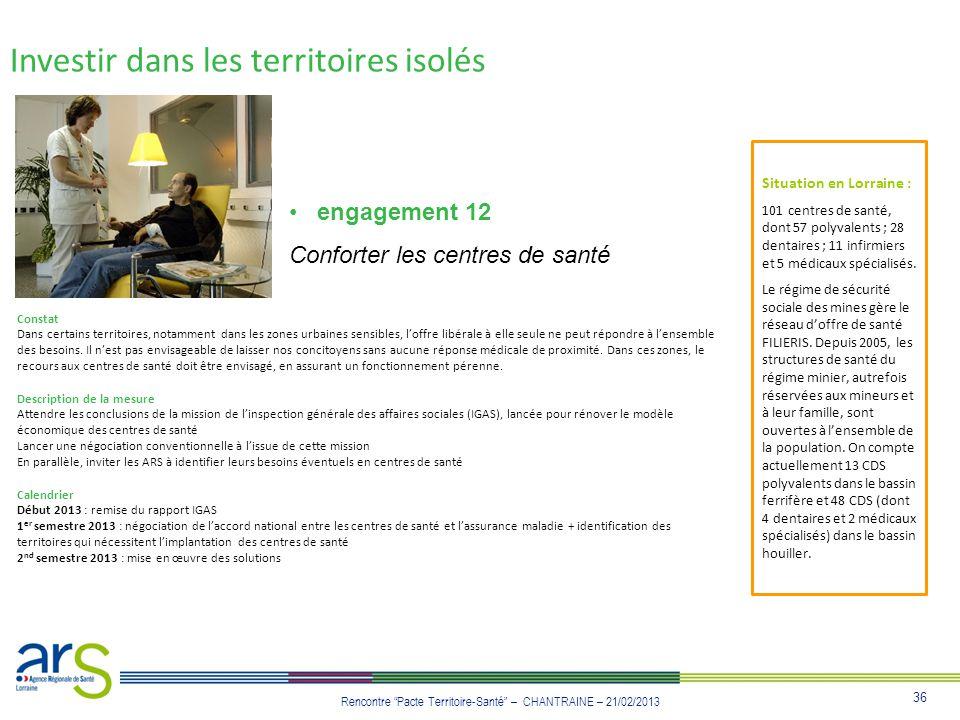 36 Rencontre Pacte Territoire-Santé – CHANTRAINE – 21/02/2013 Investir dans les territoires isolés engagement 12 Conforter les centres de santé Consta