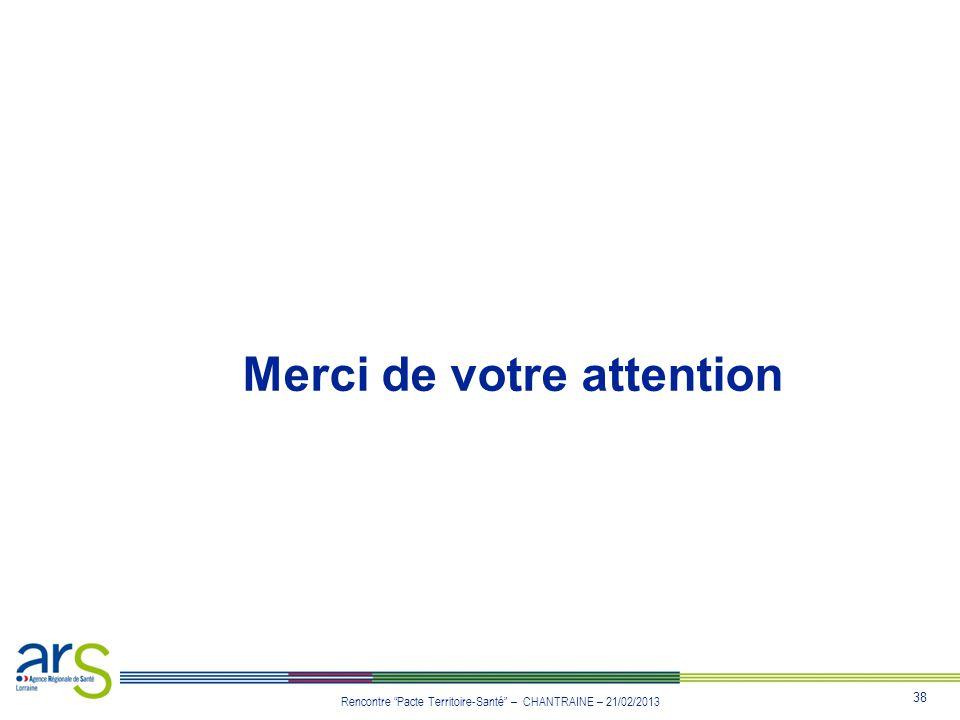 38 Rencontre Pacte Territoire-Santé – CHANTRAINE – 21/02/2013 Merci de votre attention