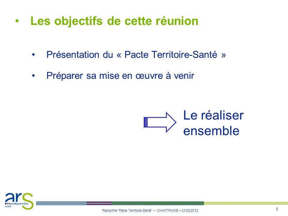 5 Rencontre Pacte Territoire-Santé – CHANTRAINE – 21/02/2013 Les objectifs de cette réunion Présentation du « Pacte Territoire-Santé » Préparer sa mis